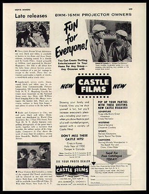 Abbott & Costello Film 8mm 16 mm Castle Films Promo 1950 Ad - Paperink Graphics