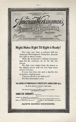 American Workingmans Protective Association 1902 Ad Agents Wanted Everywhere