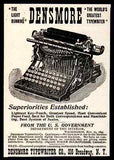 Densmore Typewriter Writing Machine Desktop Small Ad 1896 Typing