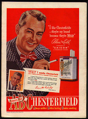 Alan Ladd 1948 Photo Ad Chesterfield Cigarettes Leavitt Roberts Paris KY - Paperink Graphics