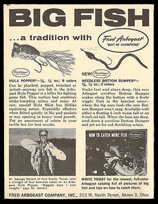 Hula Popper Ad Tackle Fishing Weedless Bottom Bumper 1961 - Paperink Graphics