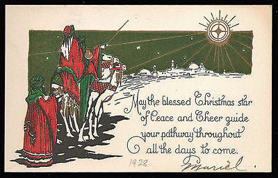 Antique Christmas Greeting Art Card Shepherds Camels Shining Star Litho Artwork - Paperink Graphics