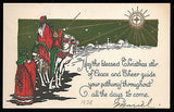 Antique Christmas Greeting Art Card Shepherds Camels Shining Star Litho Artwork