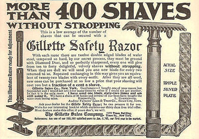 Gillette Safety Razor 400 Shaves No Stropping 1905 Shaving AD