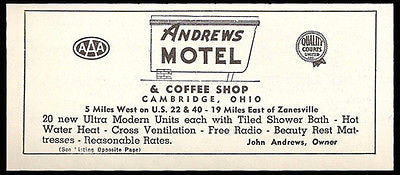 Andrews Motel Ad Cambridge Ohio Coffee Shop Radio 1954 Roadside Ad Travel