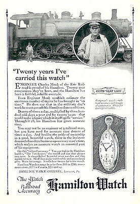 Hamilton Watch Railroad Engineer Employee Charles Monk Erie Railroard Ad