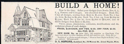 D.S. Hopkins Architect MI Build A Home Architectural House Designs 1896 Ad - Paperink Graphics