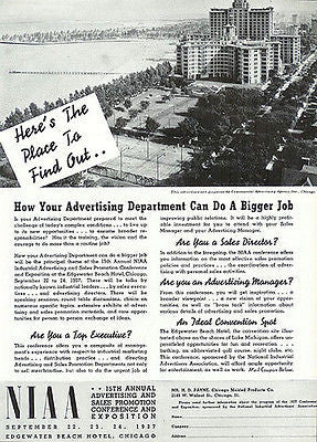 1937 Edgewater Beach Hotel Lake Michigan NIAA Expo AD Aerial View - Paperink Graphics