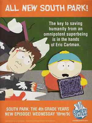 South Park Animation Eric Cartman  2000 Ad Comedy Central Television Sitcom