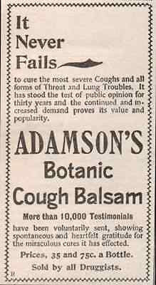 Cough Balsam Ad Adamson's Botanic Cures Throat Lung Trouble 1895 Quack AD