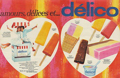 Delico Popsicles Chocolate Bars Fruit Bars 1962 French Ad - Paperink Graphics