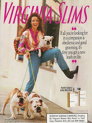 Bulldog Pair & Puppy 1993 Photo AD Virginia Slims Cigarettes Three Bull Dogs 3 - Paperink Graphics
