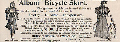 Albani Bicycle Skirt 1896 Antique ladies Fashion Ad Hudson River Garment NY - Paperink Graphics