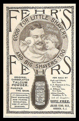 Shaving Talcum Powder Fehr's After Shave Display Mirror 1898 Print Ad
