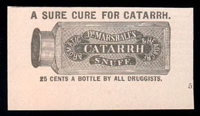 CATARRH Snuff  Dr Marshalls 1893 Druggist  Medicine Bottle Illustrated AD