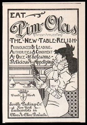 Pim-Olas Table Relish Sassy Lady 1897 Condiments Olives AD Arts Crafts Graphics Typography Kitchen Restaurant Wall Decor