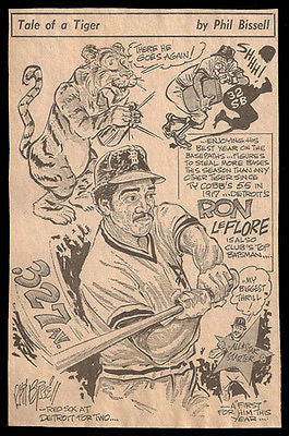 Ron LeFlore Detroit Tigers Sports Newspaper Clipping
