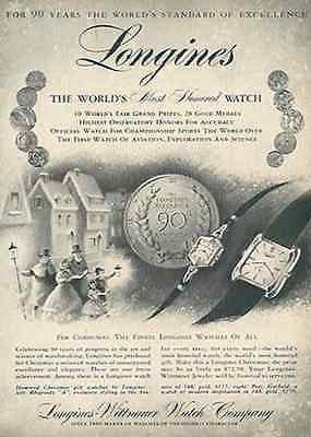 Longines Watch AD 90th Anniversary Promo Advertising 1959 - Paperink Graphics