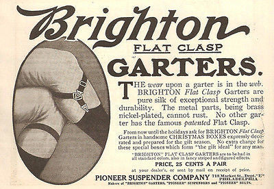 Brighton Mens Pure Silk Garters 1908 Fashion AD