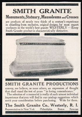 Granite Monuments Statuary 1911 Print AD Westerly RI