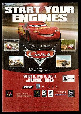 Disney Pixar The Cars Start Your Engines Videogame Ad 2006