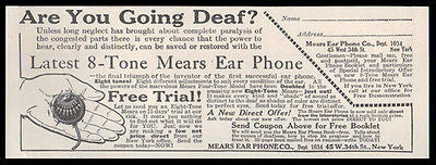 Deaf 1914 Ad Mears Ear Phone Medical Audio Device Hearing Aid