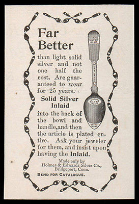 Spoons Silverplate AD Sterling Silver Inlaid Holmes & Edwards Bridgeport CT1893