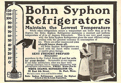 Ice Box Bohn Syphon Refrigerator St Paul Lady 38 Degree Thermometer Hand 1905 AD