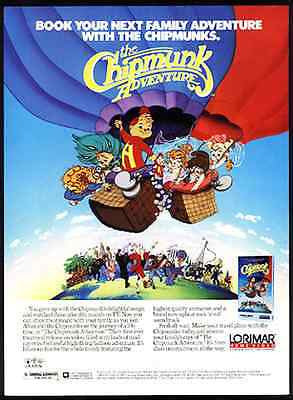 Chipmunks Animation Air Balloon 1988 Video Print Ad ALVIN