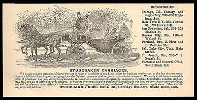 Studebaker Carriages 1893 All Sizes Styles Manufactured Action Print Ad