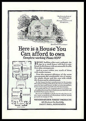 Architectural House Design Weyerhaeuser 1926 Ad Building Plan - Paperink Graphics
