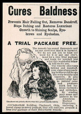 Antique Quackery AD Cures Baldness 1902 Altenheim Ohio