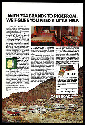 Recreational Vehicles Open Road AD 1973  Interior View Five RV Models Photo Art
