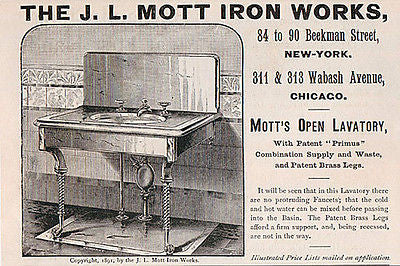Mott Lavatory Water Mix Brass Legs Ornate 1891 Print AD