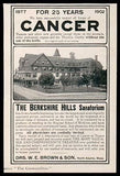 1902 Berkshire Hills Sanatorium Cancer Treatment Ad - Paperink Graphics