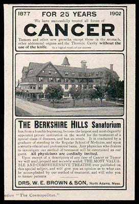 1902 Berkshire Hills Sanatorium Cancer Treatment Ad