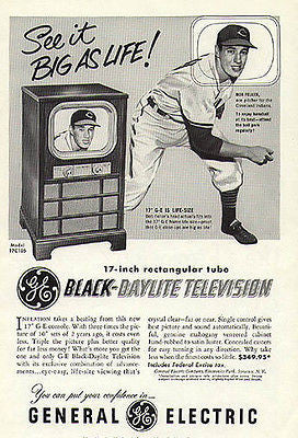 Baseball Bob Feller Cleveland Pitcher Television GE 1951 Sport AD - Paperink Graphics