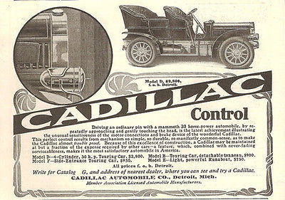 1905 Cadillac Model D Automobile Touring Car First with Braking Device System AD