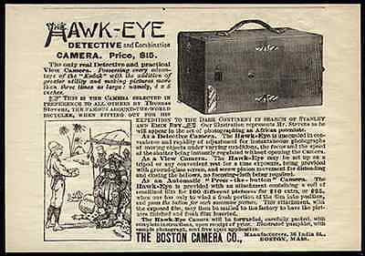 Hawkeye Detective Camera Safari Cartoon 1899 Print AD - Paperink Graphics