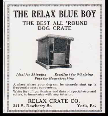 Dog Crate 1929 Relax Blue Boy York PA Photo AD