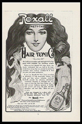 Art Nouveau Style Beauties Rexall 93 Hair Tonic 1908 Print Ad Rexall Stores - Paperink Graphics