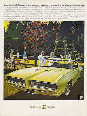 GTO 1968 Pontiac Wide Track VK AF Automobile Ad Tennis Game - Paperink Graphics