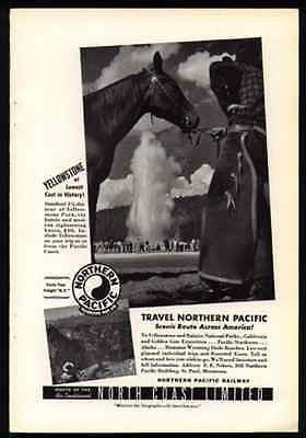 Horse Western Chaps Cowboy Yellowstone Park Tour Northern Pacific Rail 1940 AD - Paperink Graphics