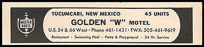 Motel Frontier Ad Roswell New Mexico 1964 Roadside Ad AC Cable TV Phones Travel