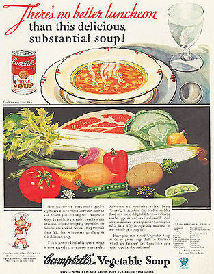 Campbells Vegetable Veggie Soup 1934  Kitchen Art Ad - Paperink Graphics