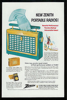 1956 Radio Ad Vintage Portable Zenith Radio Trim Line Case Retro - Paperink Graphics
