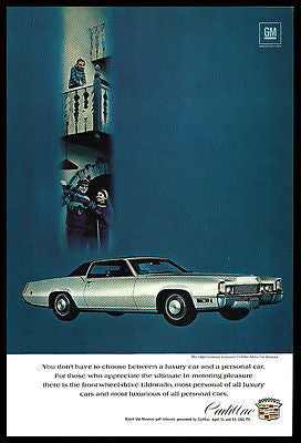 Cadillac 1969 AD Fleetwood Eldorado Luxury Ski Photo Car Automobile Advertising - Paperink Graphics