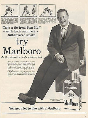 Sam Huff NY Giants Football 1960 Marlboro Cigarette AD