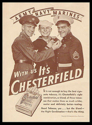 Cigarettes Military Uniforms Army Navy Marines Chesterfield Photo Ad 1943 - Paperink Graphics