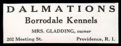 Dalmations 1927 Dog AD Mrs Gladding Borrodale Kennels Providence RI - Paperink Graphics